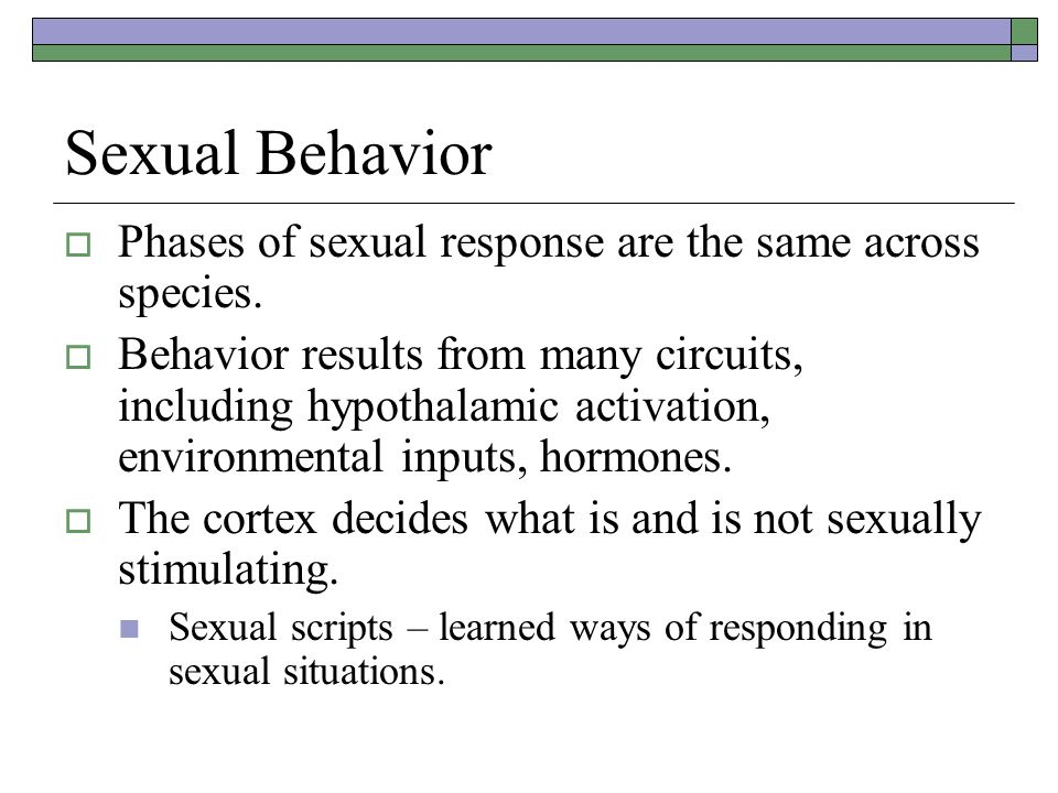 Sexual Behavior Phases of sexual response are the same across species.