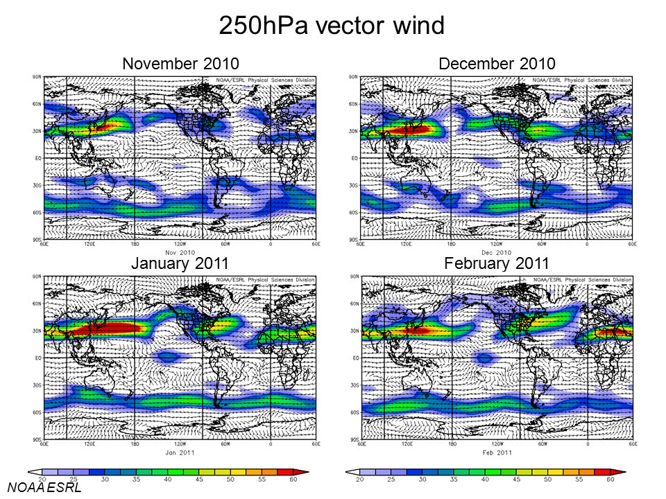 250hPa vector wind November 2010 December 2010 January 2011