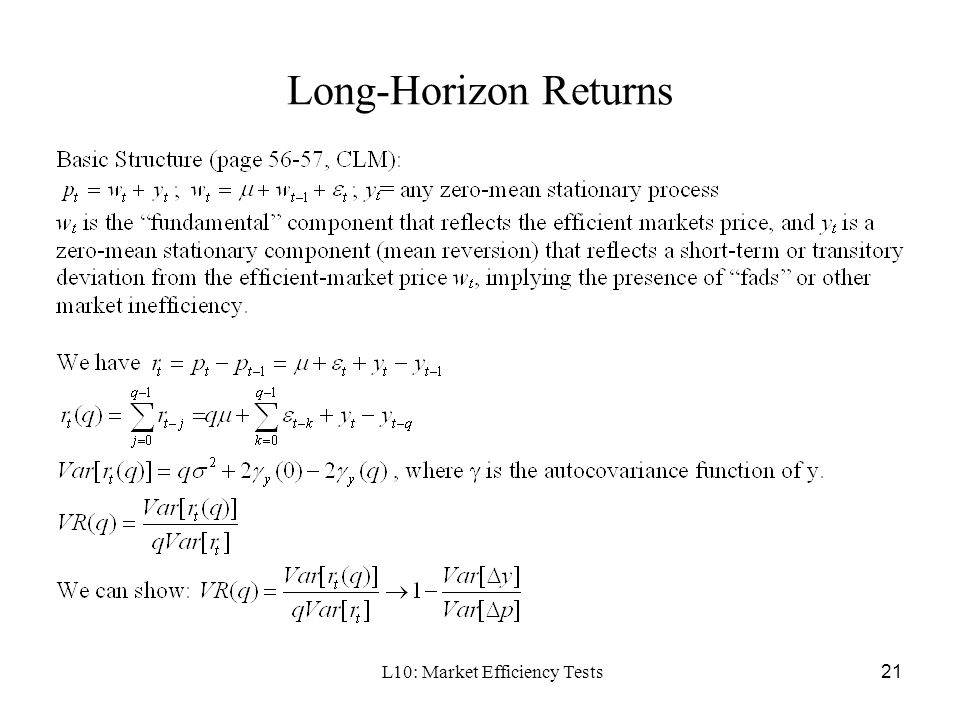 Lecture 10: Testing Market Efficiency