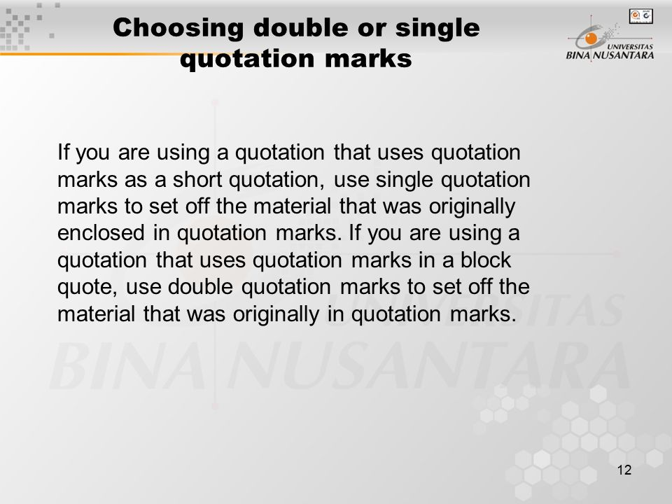 Choosing double or single quotation marks