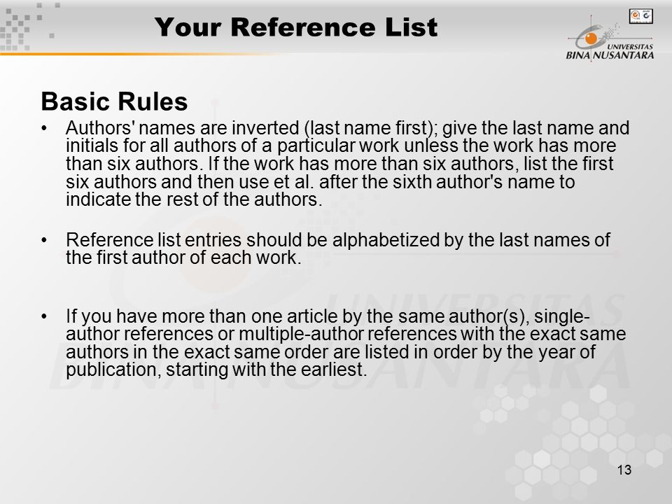 Your Reference List Basic Rules