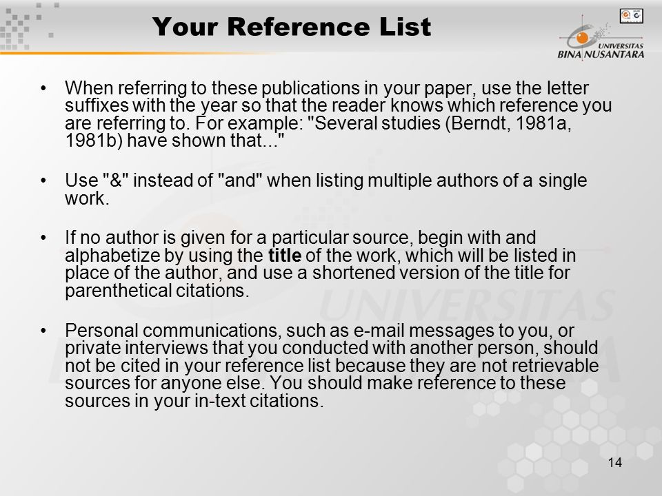 Your Reference List
