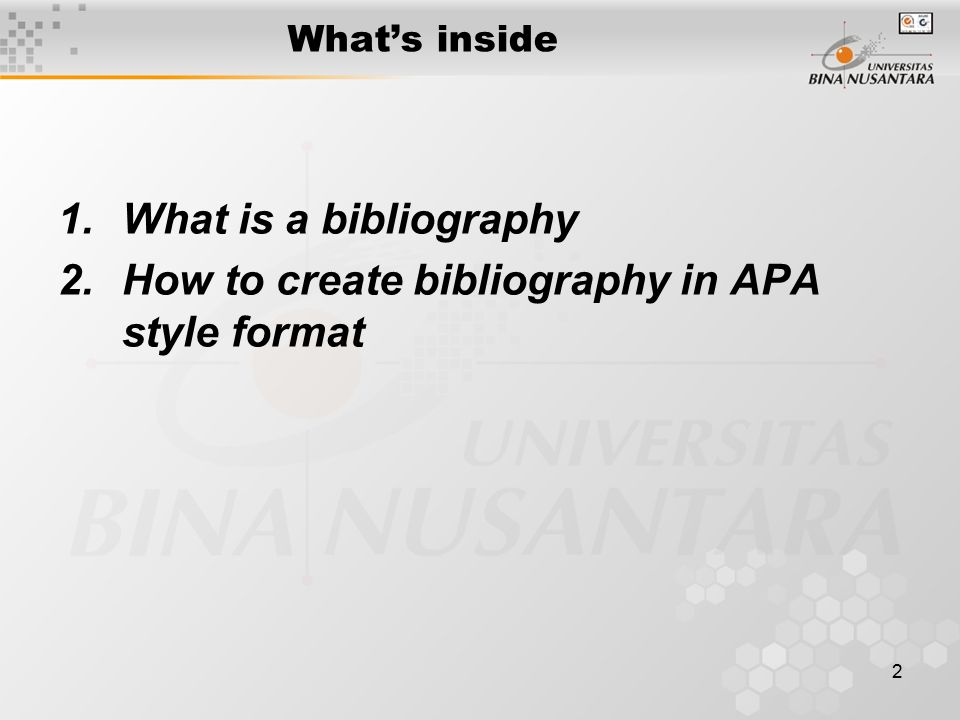 How to create bibliography in APA style format