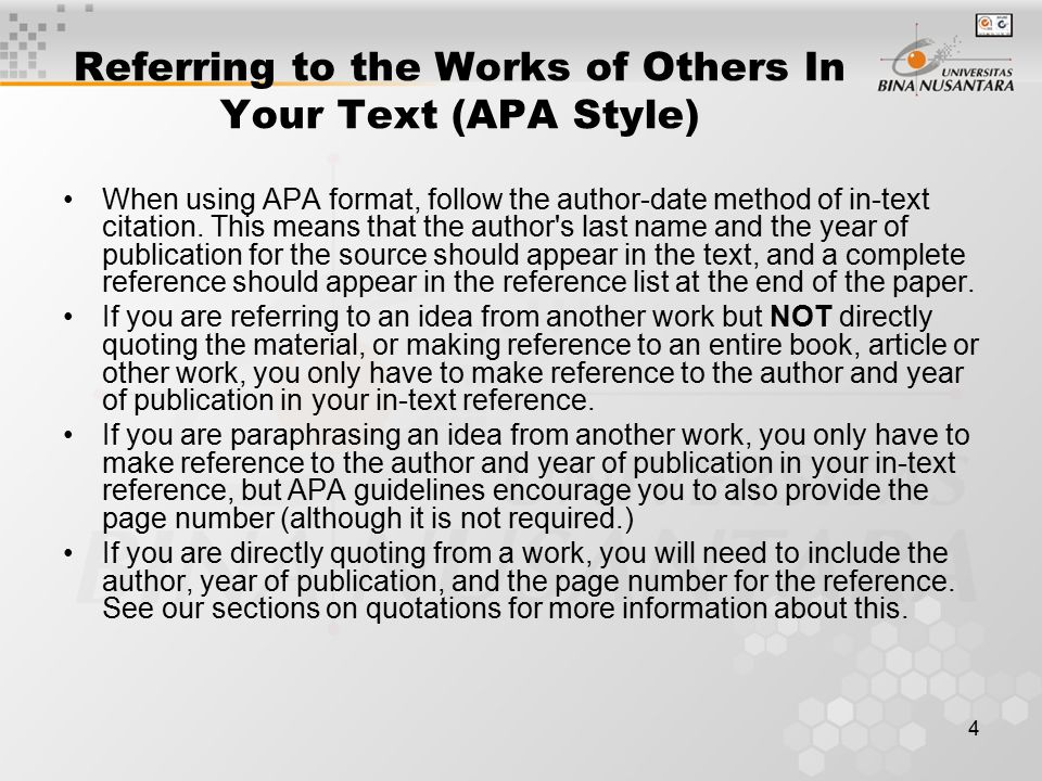 Referring to the Works of Others In Your Text (APA Style)