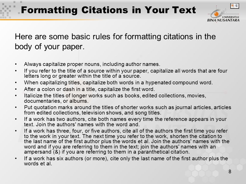Formatting Citations in Your Text
