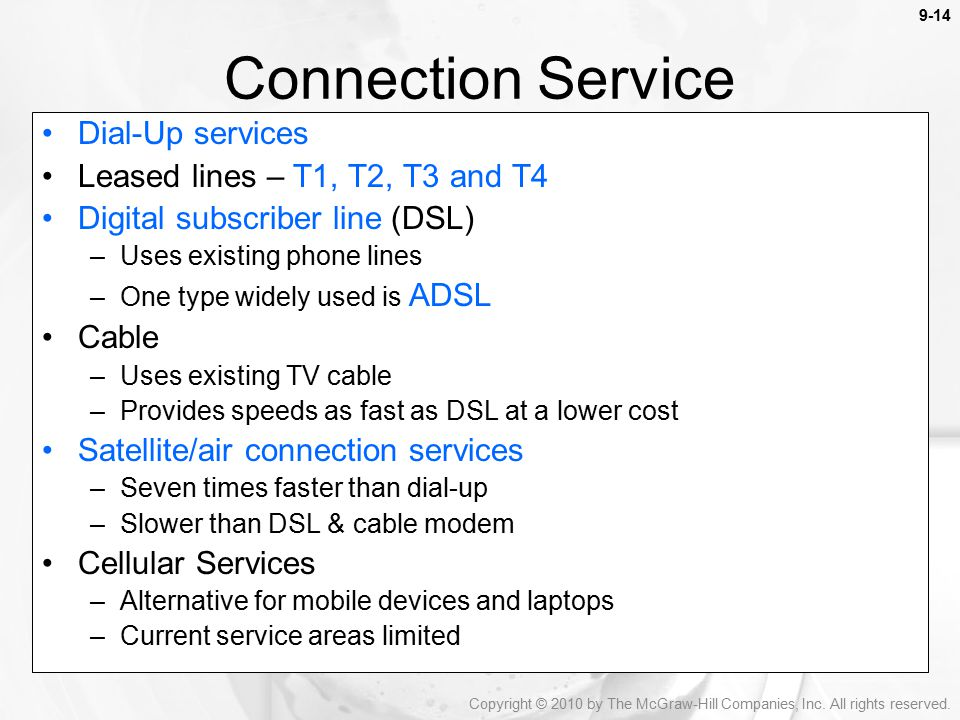 Connection Service Dial-Up services Leased lines – T1, T2, T3 and T4