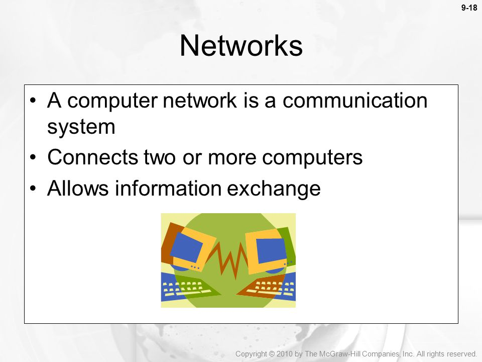Networks A computer network is a communication system