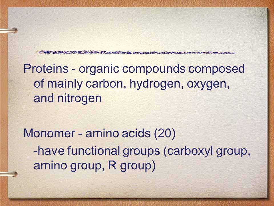 Proteins - organic compounds composed of mainly carbon, hydrogen, oxygen, and nitrogen