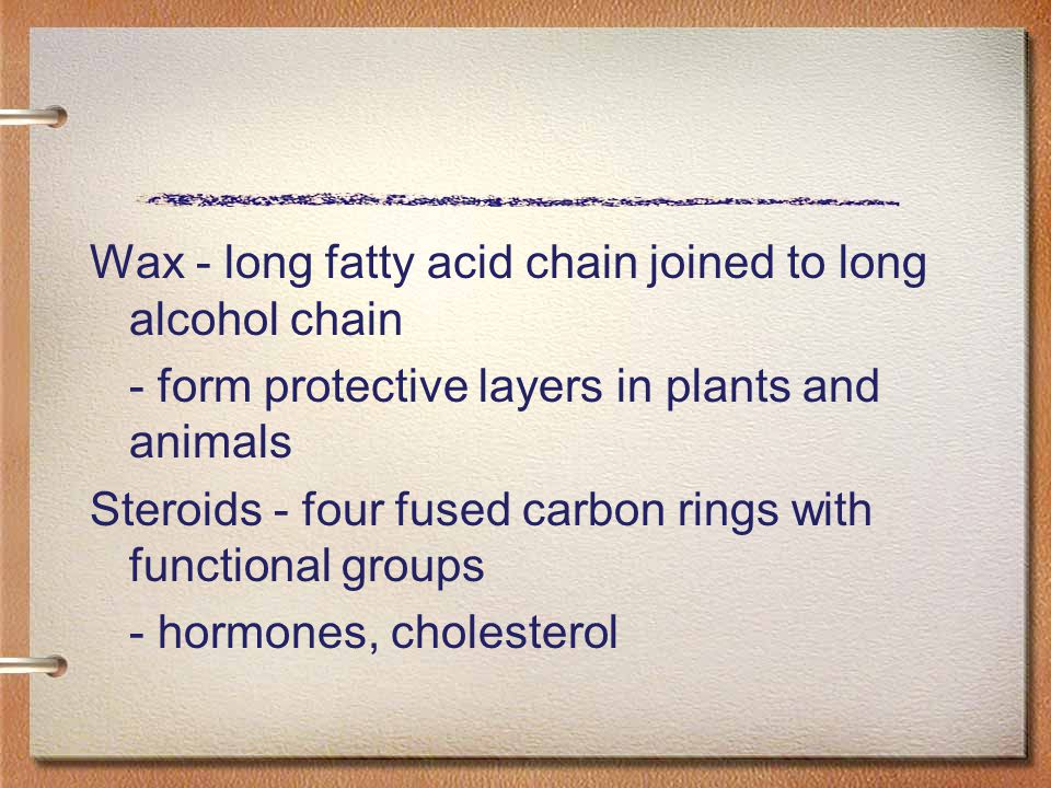 Wax - long fatty acid chain joined to long alcohol chain
