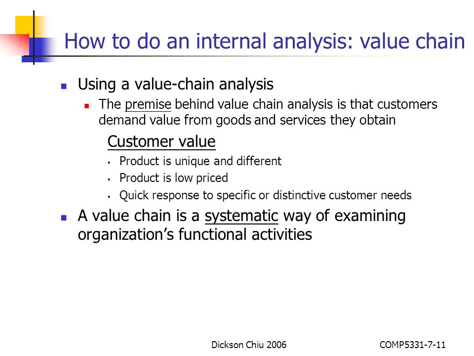How to do an internal analysis: value chain