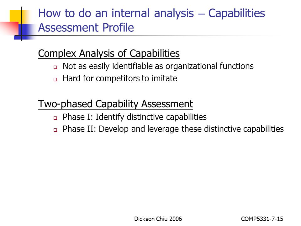 How to do an internal analysis – Capabilities Assessment Profile