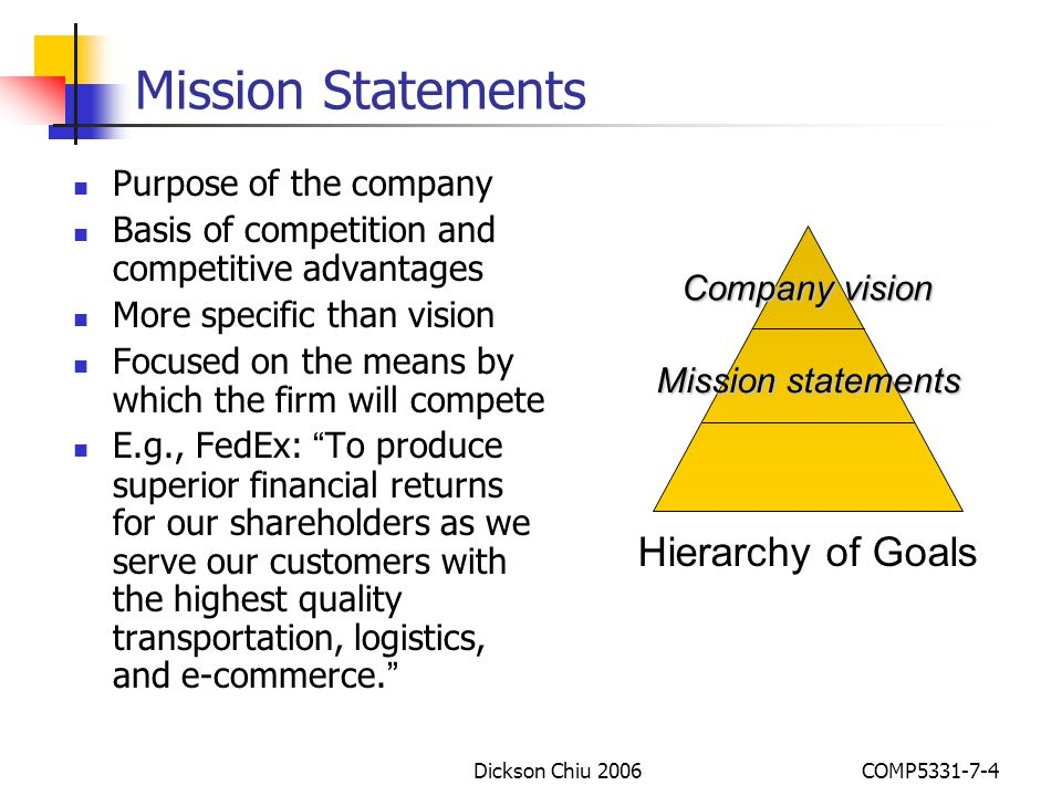 Mission Statements Hierarchy of Goals Purpose of the company