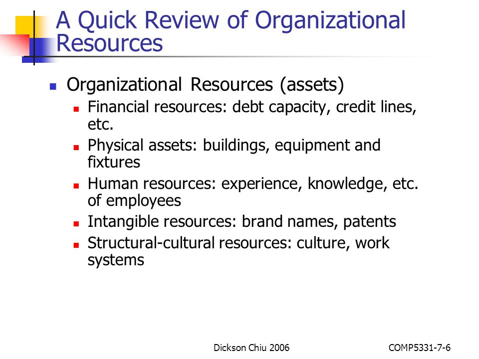 A Quick Review of Organizational Resources