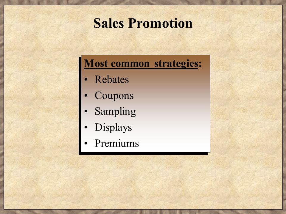 Sales Promotion Most common strategies: Rebates Coupons Sampling