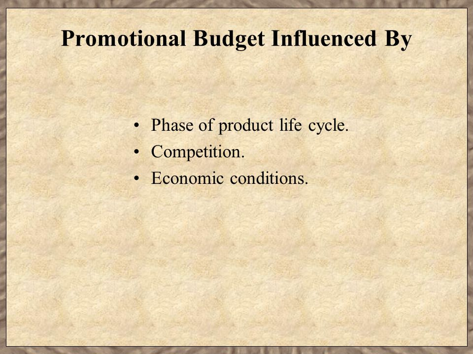 Promotional Budget Influenced By
