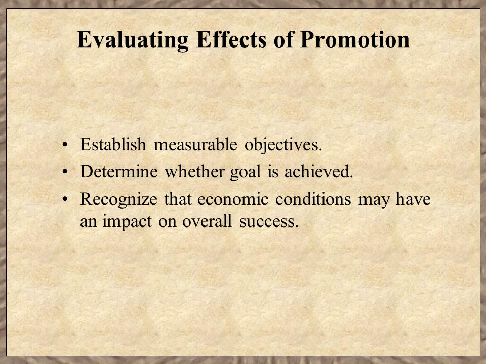 Evaluating Effects of Promotion