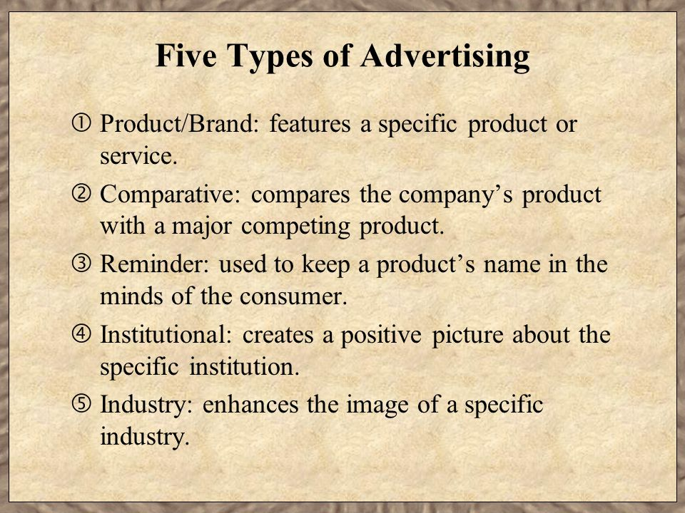 Five Types of Advertising