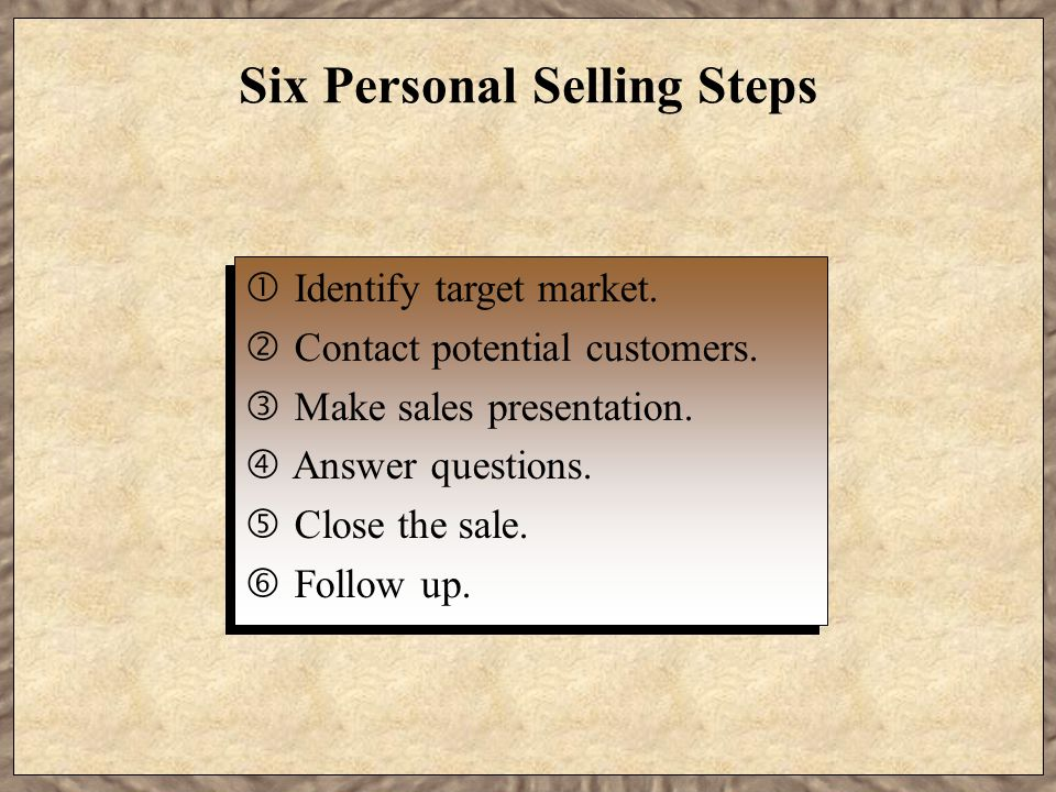Six Personal Selling Steps