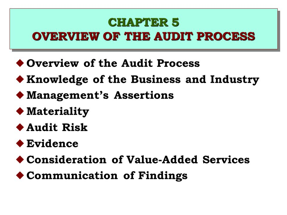 CHAPTER 5 OVERVIEW OF THE AUDIT PROCESS