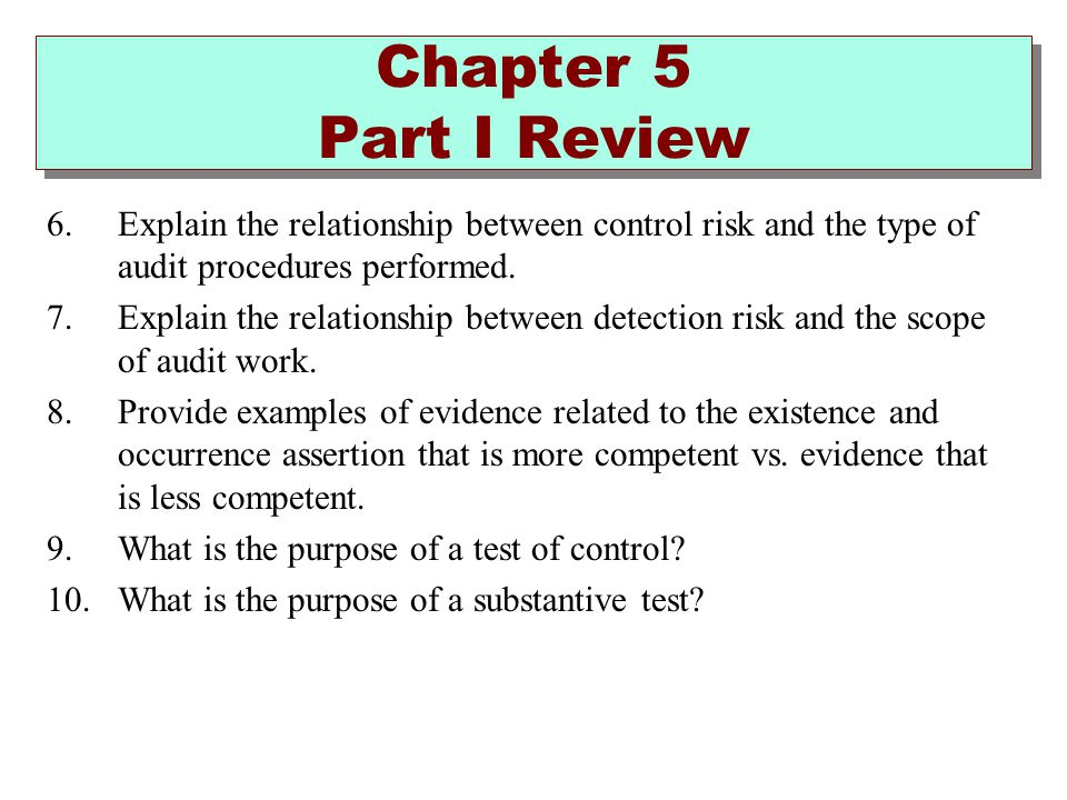 Chapter 5 Part I Review Explain the relationship between control risk and the type of audit procedures performed.