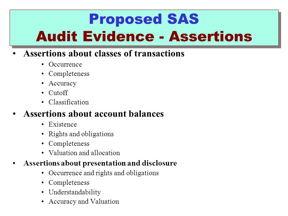 Proposed SAS Audit Evidence - Assertions