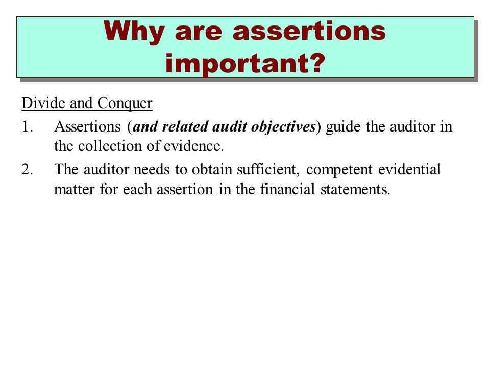 Why are assertions important