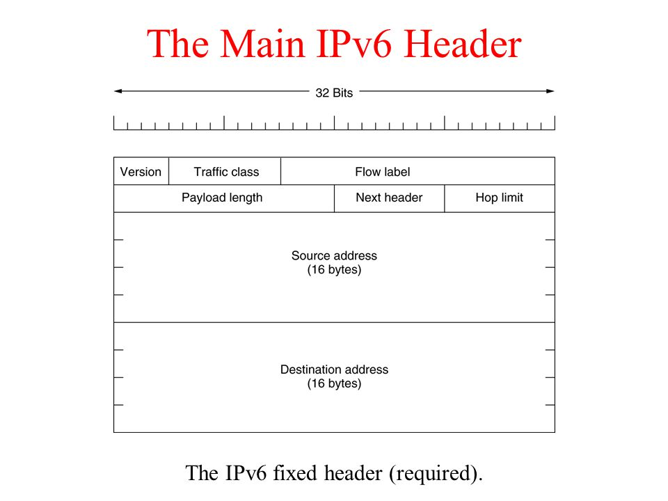 The IPv6 fixed header (required).
