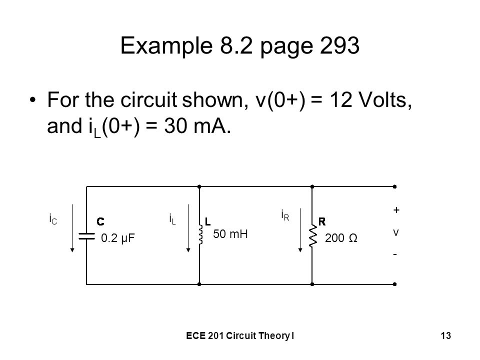Example 8.2 page 293 For the circuit shown, v(0+) = 12 Volts, and iL(0+) = 30 mA. + v. - iR. iC.