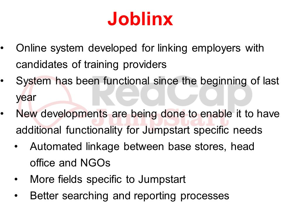 Joblinx Online system developed for linking employers with candidates of training providers.