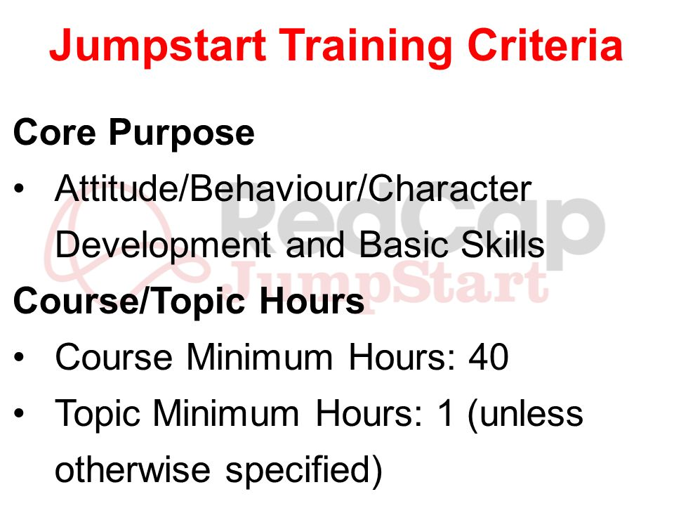 Jumpstart Training Criteria