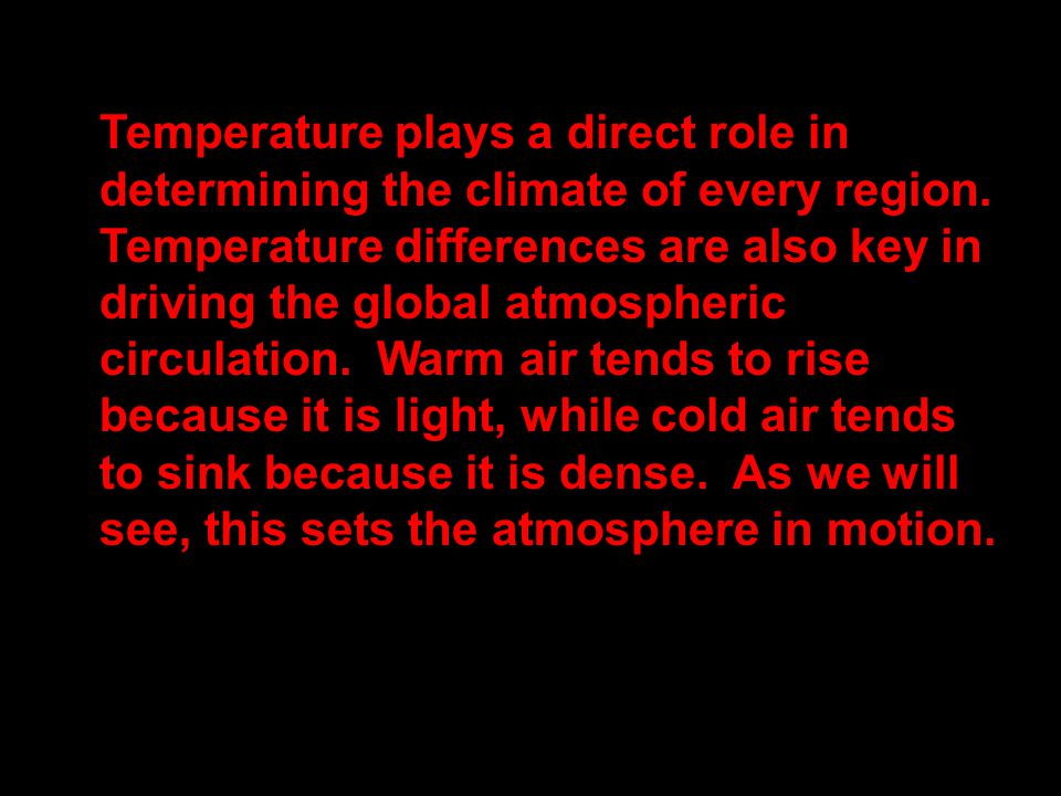 Temperature plays a direct role in determining the climate of every region.