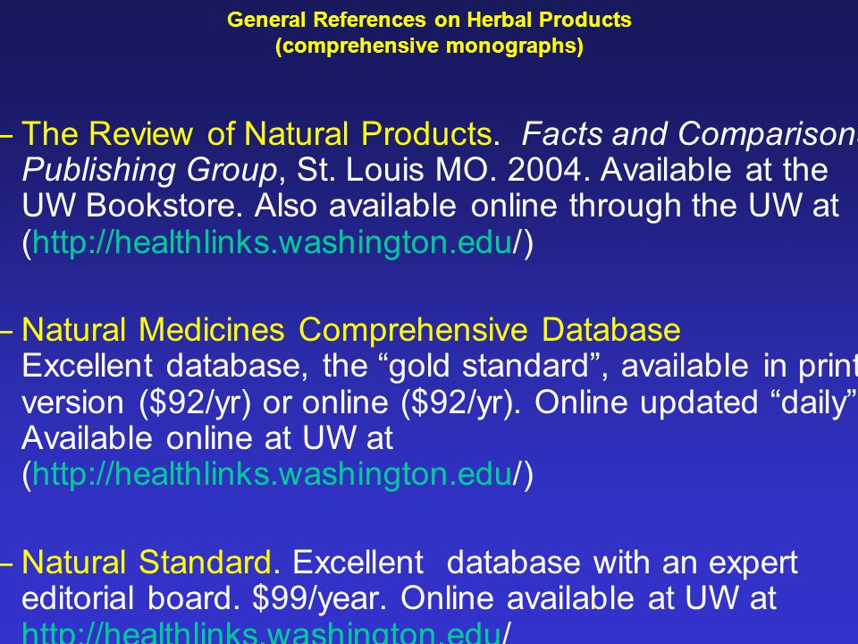 review of natural products facts comparisons
