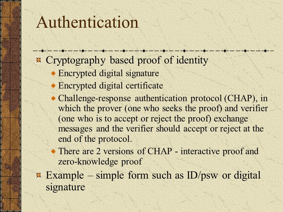 Authentication Cryptography based proof of identity