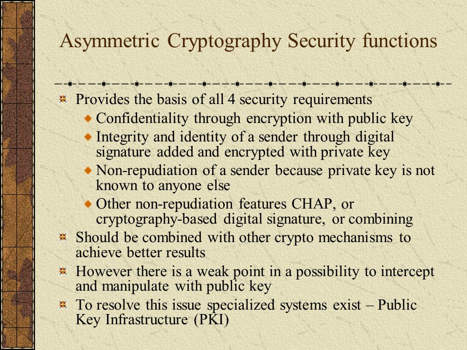Asymmetric Cryptography Security functions