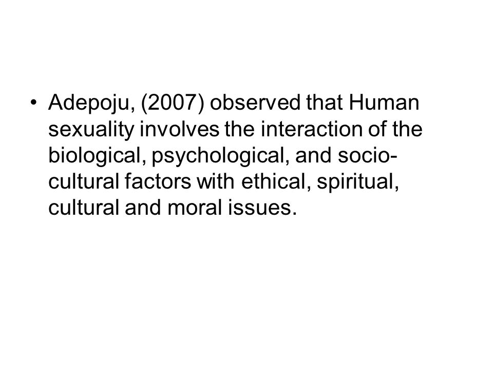 Sociocultural influences on different aspects of human sexuality