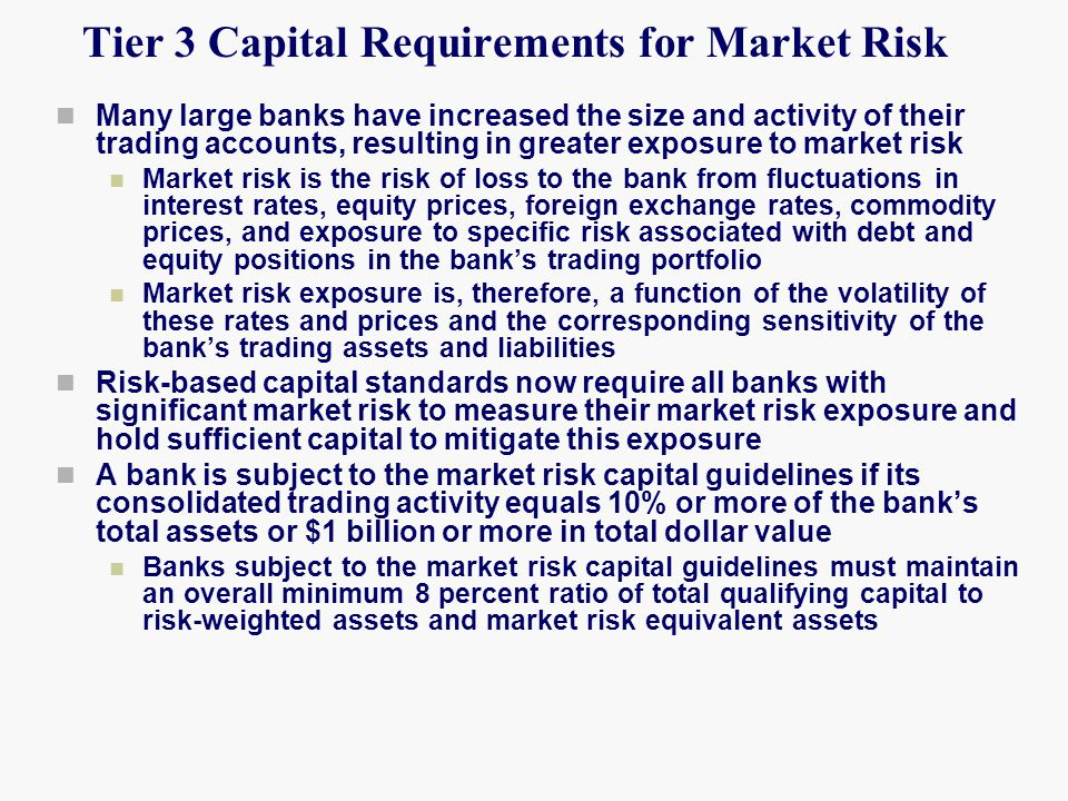 Tier 3 Capital Requirements for Market Risk