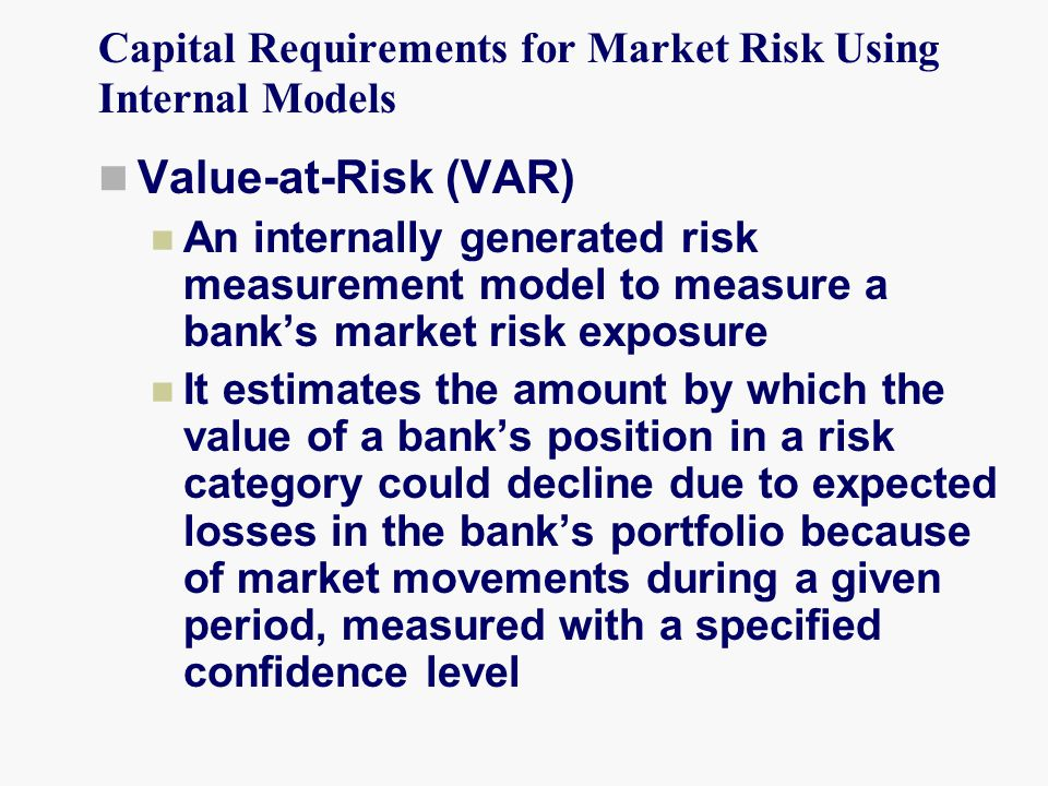 Capital Requirements for Market Risk Using Internal Models