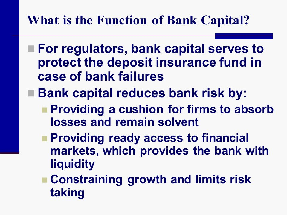 What is the Function of Bank Capital