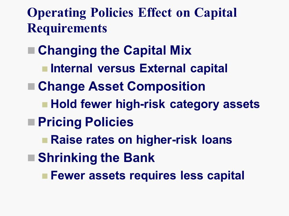 Operating Policies Effect on Capital Requirements