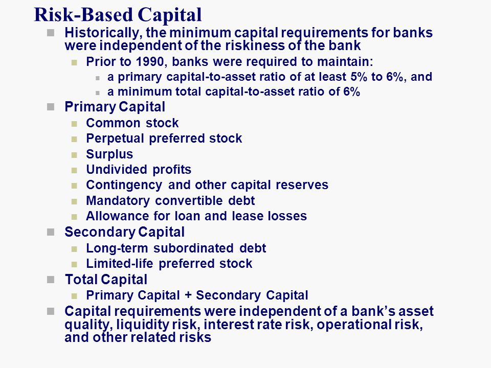 Risk-Based Capital Historically, the minimum capital requirements for banks were independent of the riskiness of the bank.
