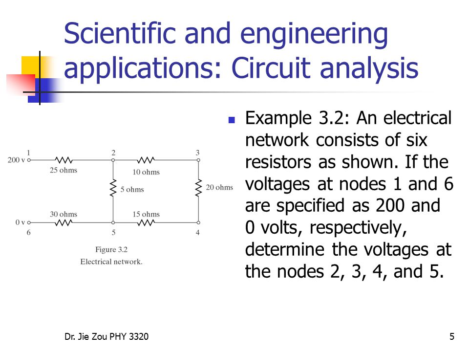 Scientific and engineering applications: Circuit analysis