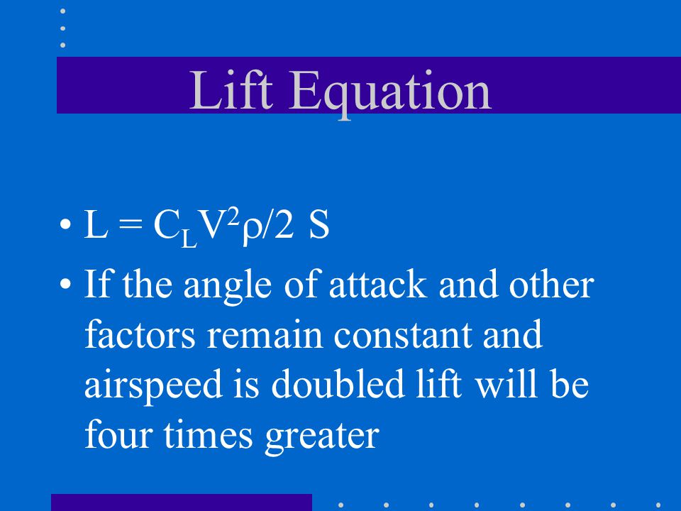 Lift Equation L = CLV2r/2 S