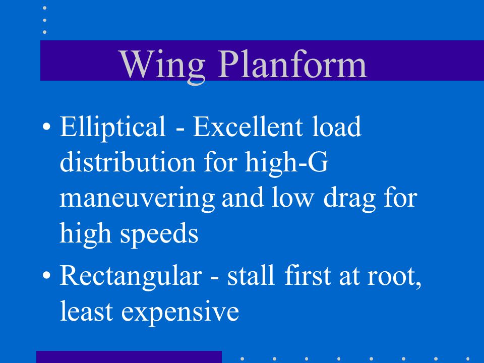 Wing Planform Elliptical - Excellent load distribution for high-G maneuvering and low drag for high speeds.