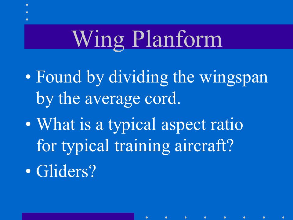 Wing Planform Found by dividing the wingspan by the average cord.
