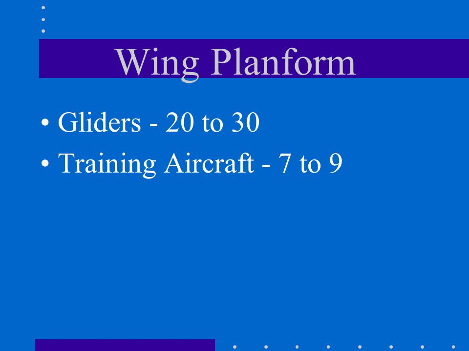 Wing Planform Gliders - 20 to 30 Training Aircraft - 7 to 9