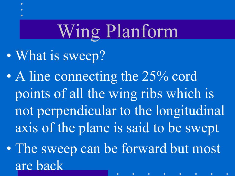 Wing Planform What is sweep