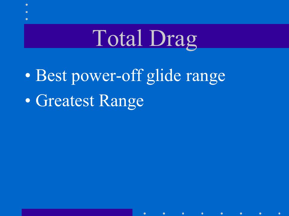 Total Drag Best power-off glide range Greatest Range