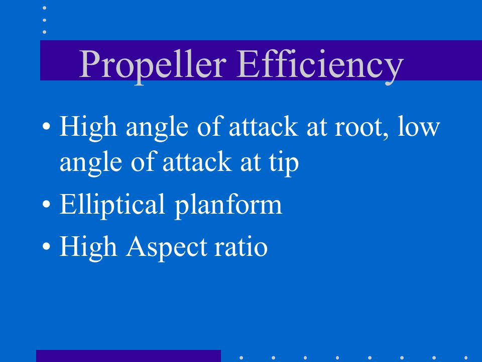 Propeller Efficiency High angle of attack at root, low angle of attack at tip. Elliptical planform.