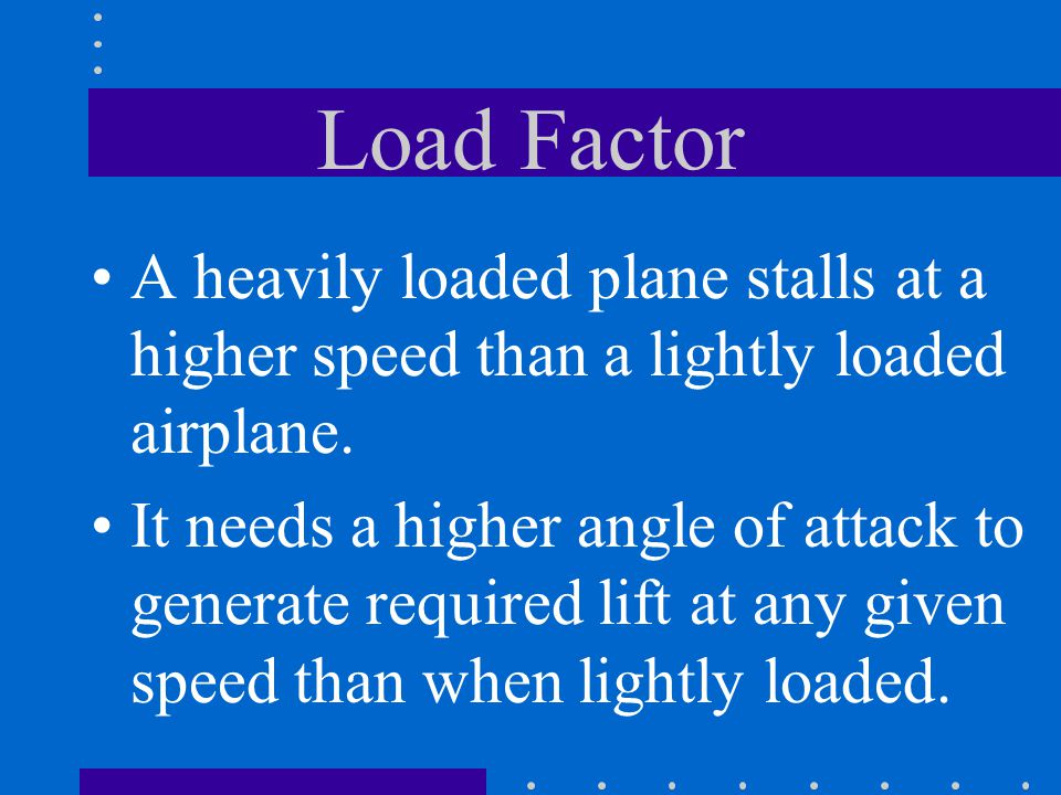 Load Factor A heavily loaded plane stalls at a higher speed than a lightly loaded airplane.