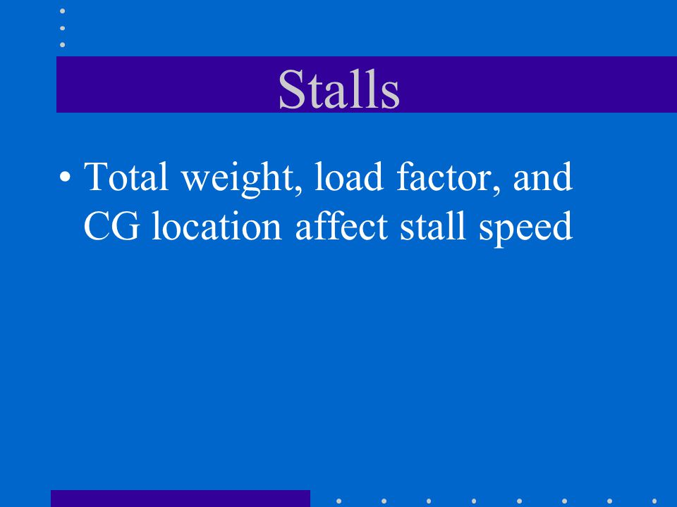 Stalls Total weight, load factor, and CG location affect stall speed